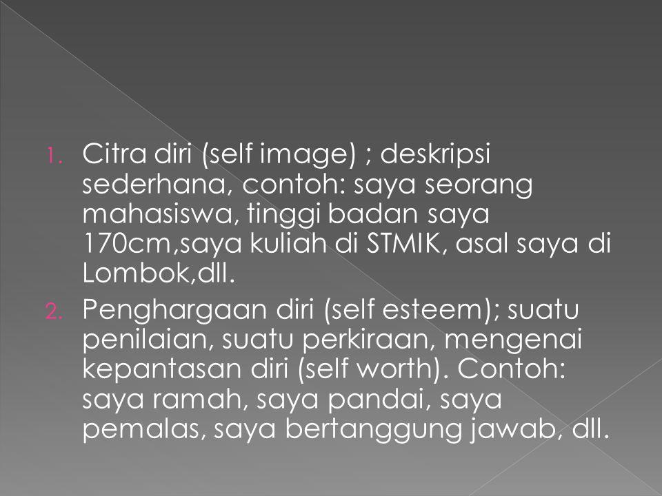 Citra diri (self image) ; deskripsi sederhana, contoh: saya seorang mahasiswa, tinggi badan saya 170cm,saya kuliah di STMIK, asal saya di Lombok,dll.