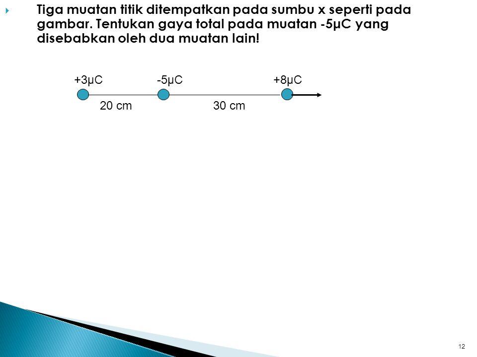 Tiga muatan titik ditempatkan pada sumbu x seperti pada gambar
