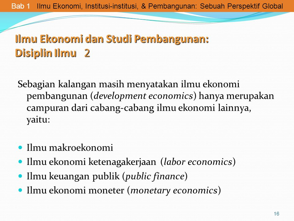 Ilmu Ekonomi dan Studi Pembangunan: Disiplin Ilmu 2