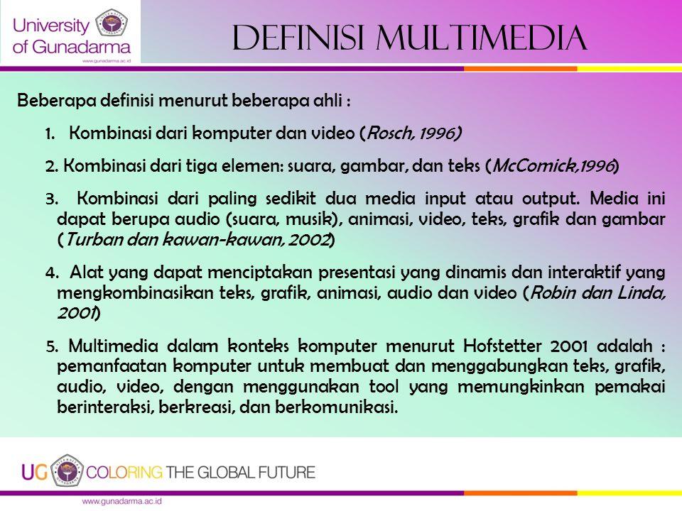 Definisi Multimedia Beberapa definisi menurut beberapa ahli :