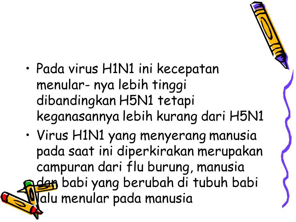 Pada virus H1N1 ini kecepatan menular- nya lebih tinggi dibandingkan H5N1 tetapi keganasannya lebih kurang dari H5N1