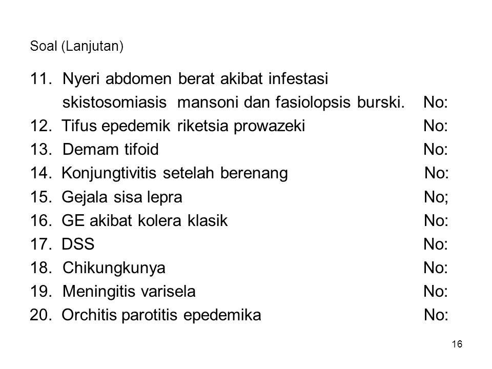 Nyeri abdomen berat akibat infestasi