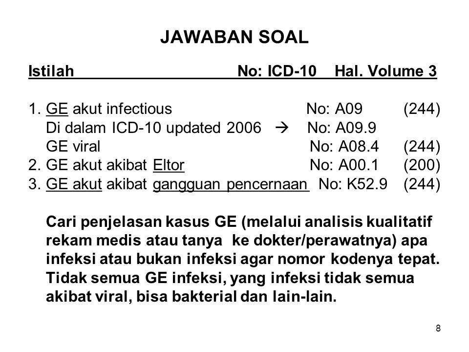 JAWABAN SOAL Istilah No: ICD-10 Hal. Volume 3