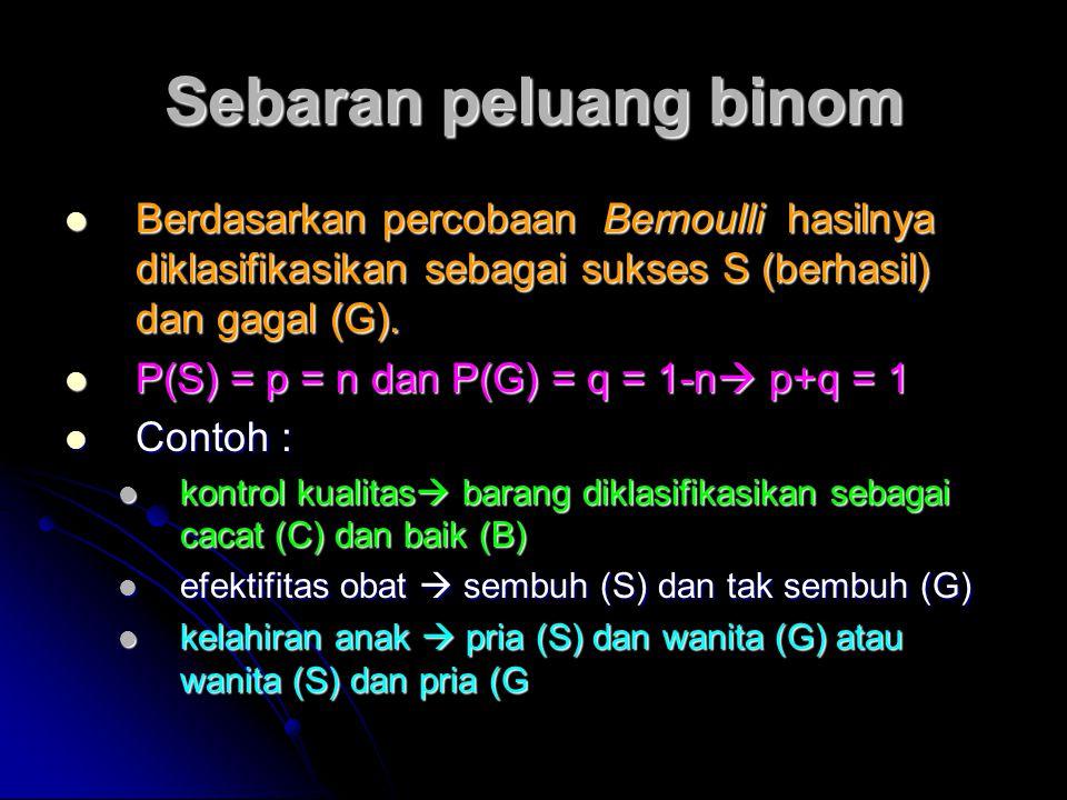 Sebaran peluang binom Berdasarkan percobaan Bernoulli hasilnya diklasifikasikan sebagai sukses S (berhasil) dan gagal (G).