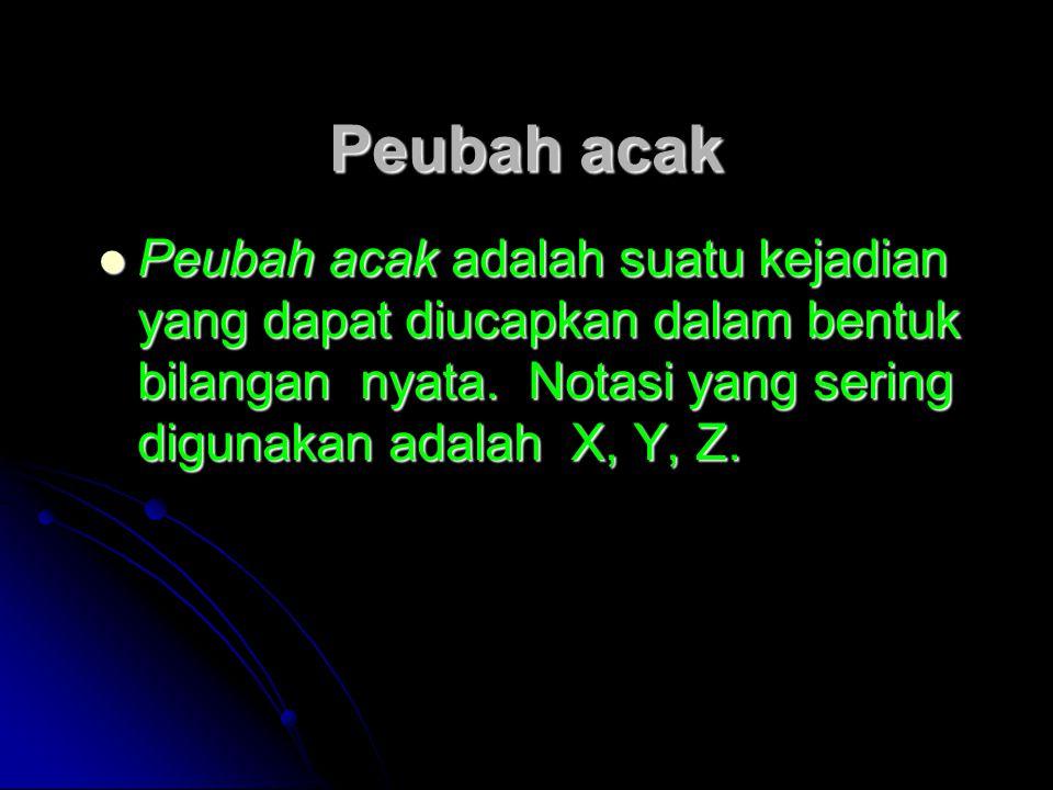 Peubah acak Peubah acak adalah suatu kejadian yang dapat diucapkan dalam bentuk bilangan nyata.