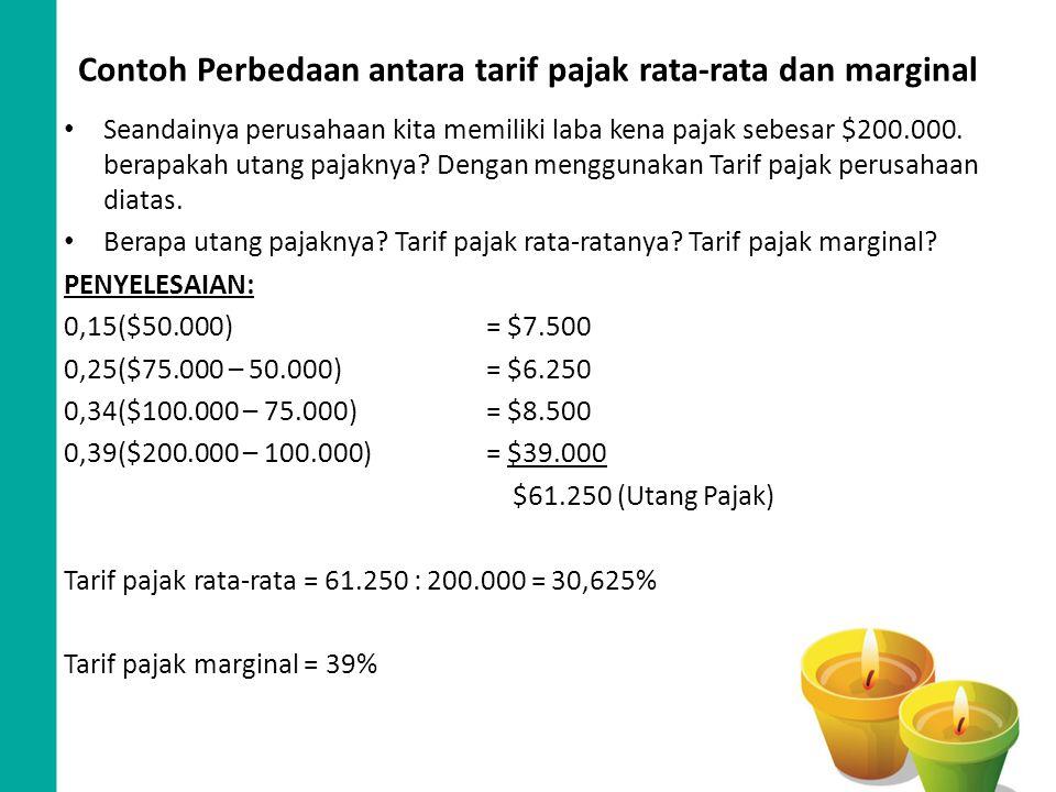 Contoh Perbedaan antara tarif pajak rata-rata dan marginal
