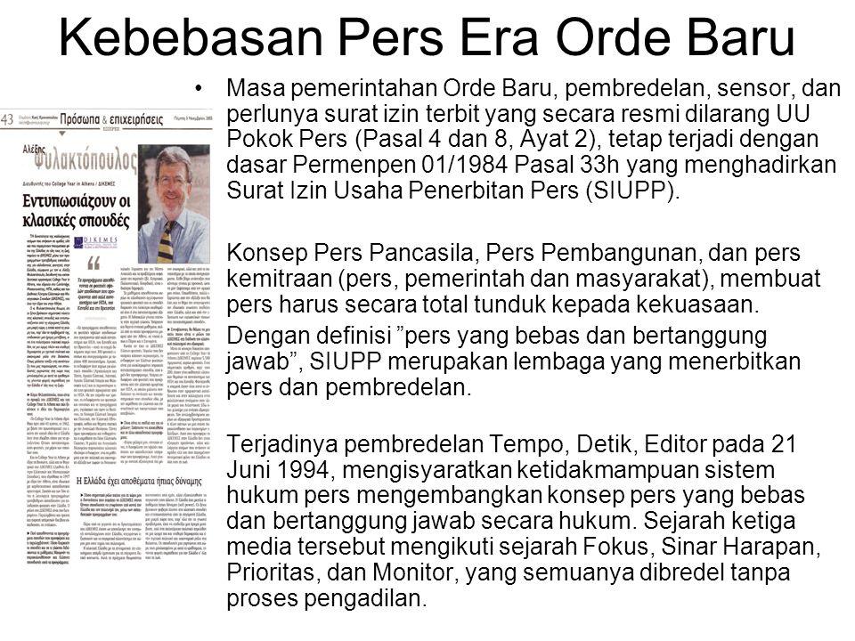 Kebebasan Pers Era Orde Baru