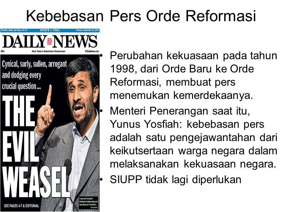 Kebebasan Pers Orde Reformasi