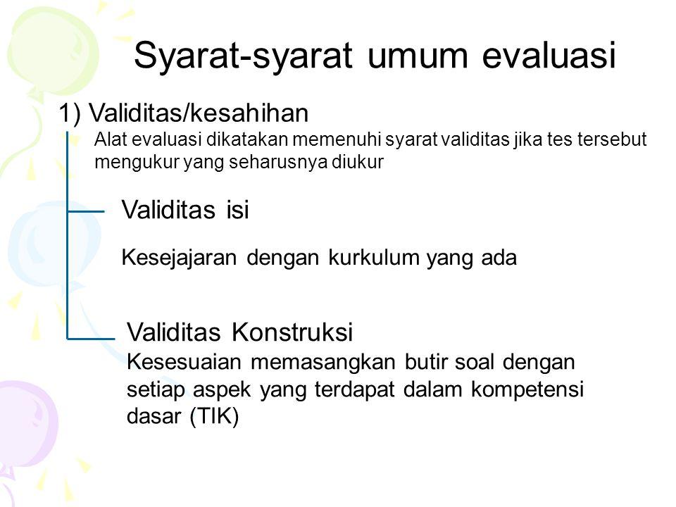 Syarat-syarat umum evaluasi