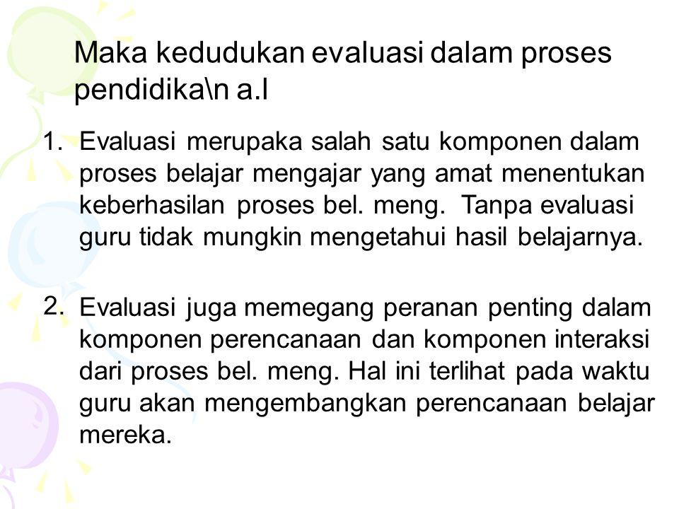 Maka kedudukan evaluasi dalam proses pendidika\n a.l