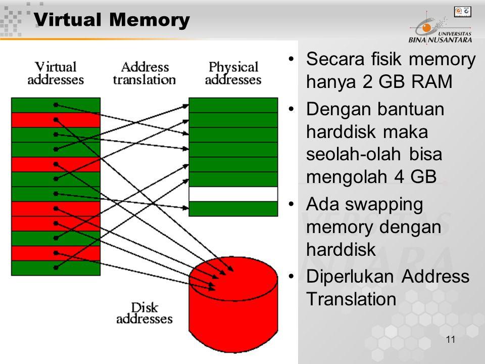 Virtual Memory Secara fisik memory hanya 2 GB RAM. Dengan bantuan harddisk maka seolah-olah bisa mengolah 4 GB.