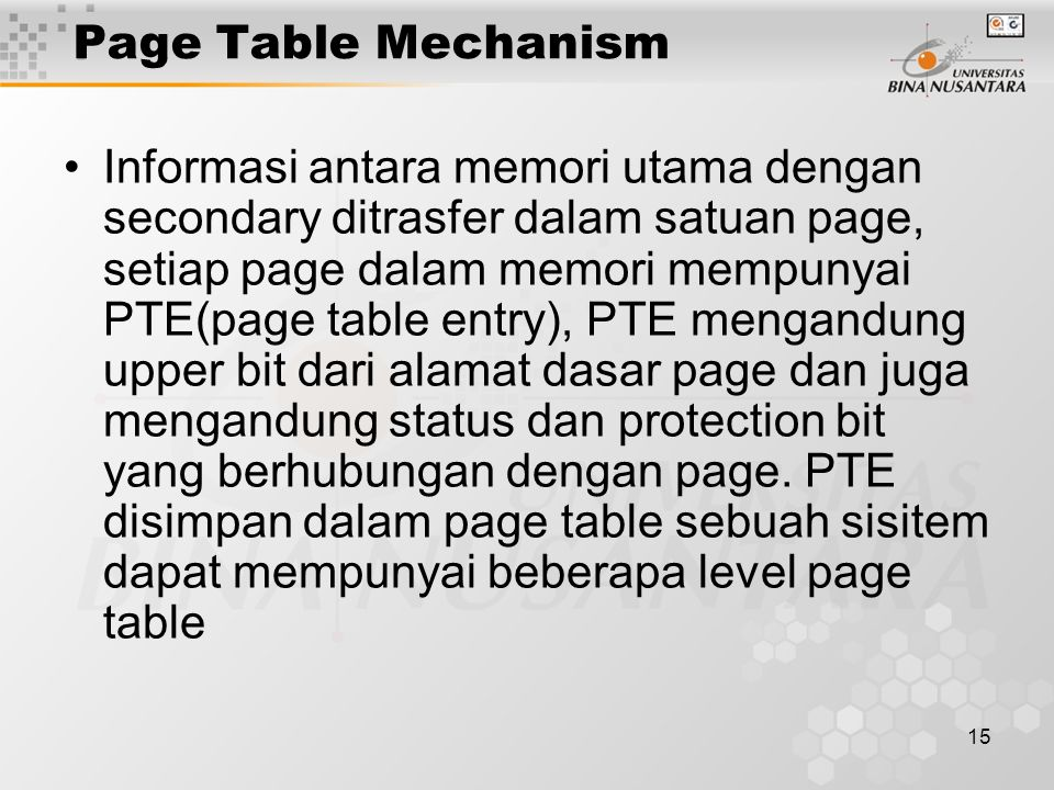 Page Table Mechanism