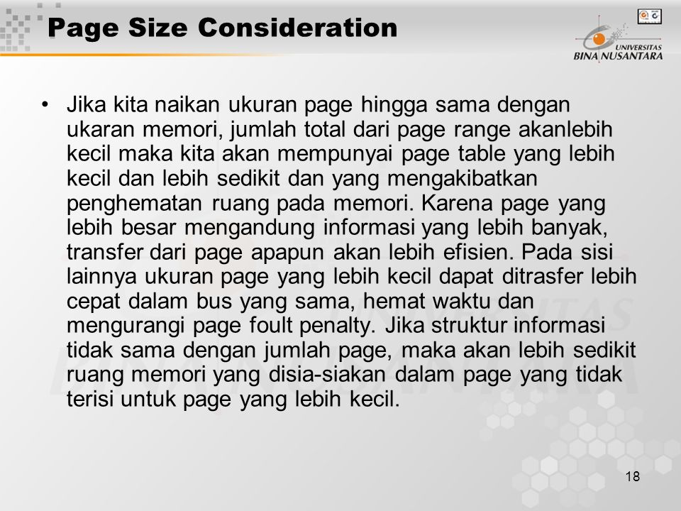 Page Size Consideration