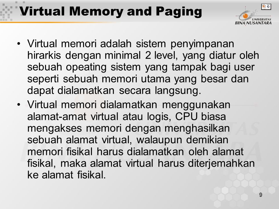 Virtual Memory and Paging