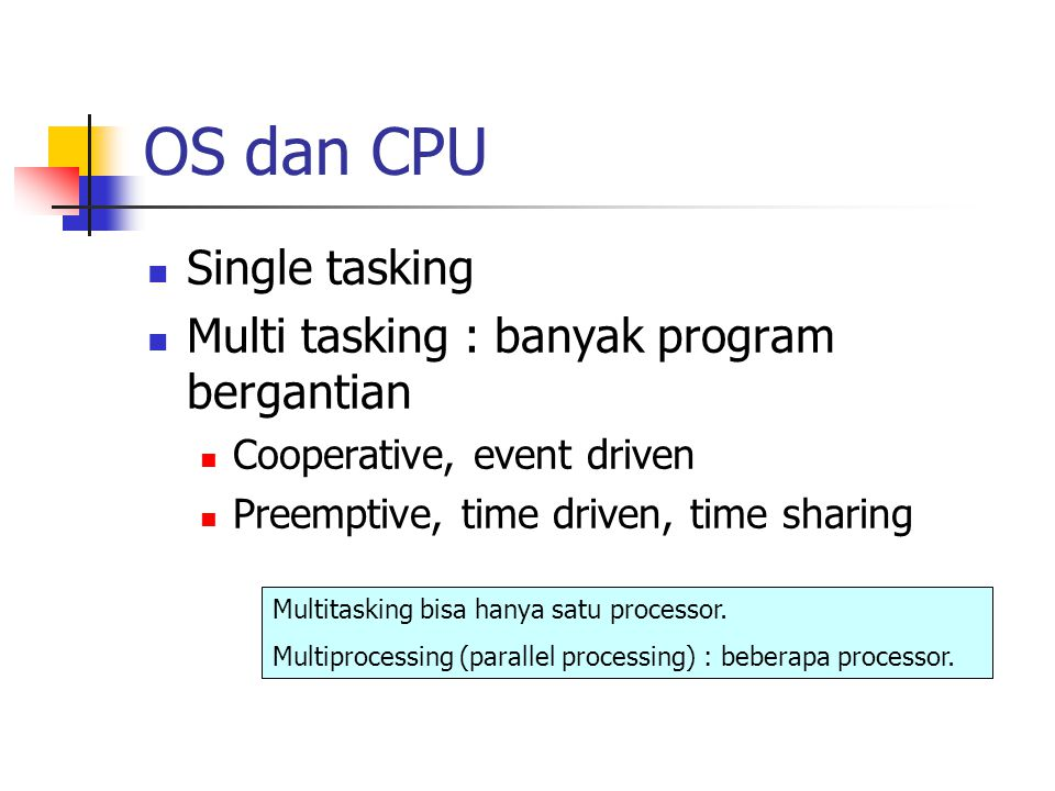 OS dan CPU Single tasking Multi tasking : banyak program bergantian