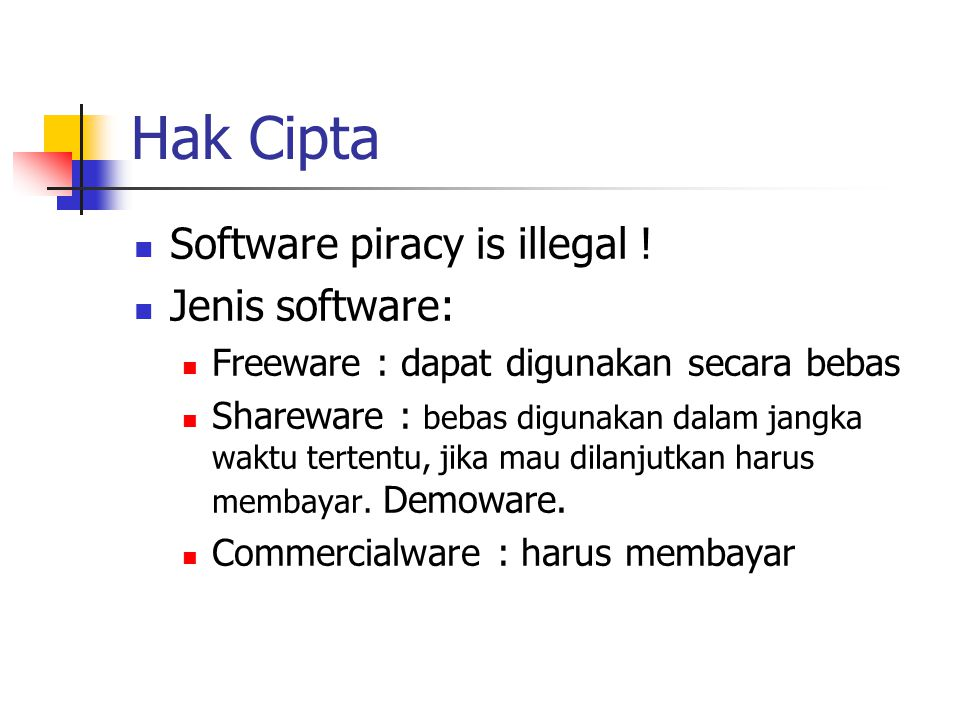 Hak Cipta Software piracy is illegal ! Jenis software: