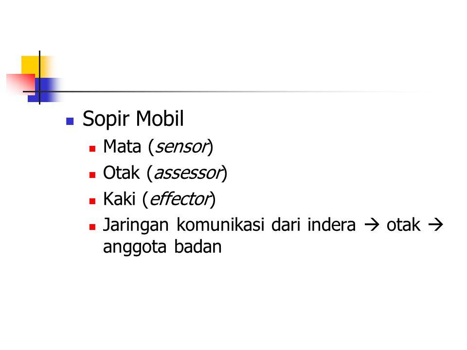 Sopir Mobil Mata (sensor) Otak (assessor) Kaki (effector)