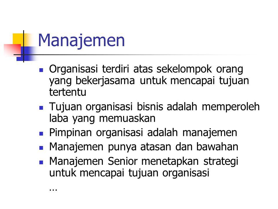 Manajemen Organisasi terdiri atas sekelompok orang yang bekerjasama untuk mencapai tujuan tertentu.