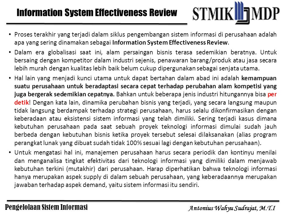Information System Effectiveness Review