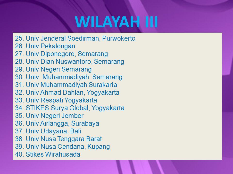 WILAYAH III 25. Univ Jenderal Soedirman, Purwokerto