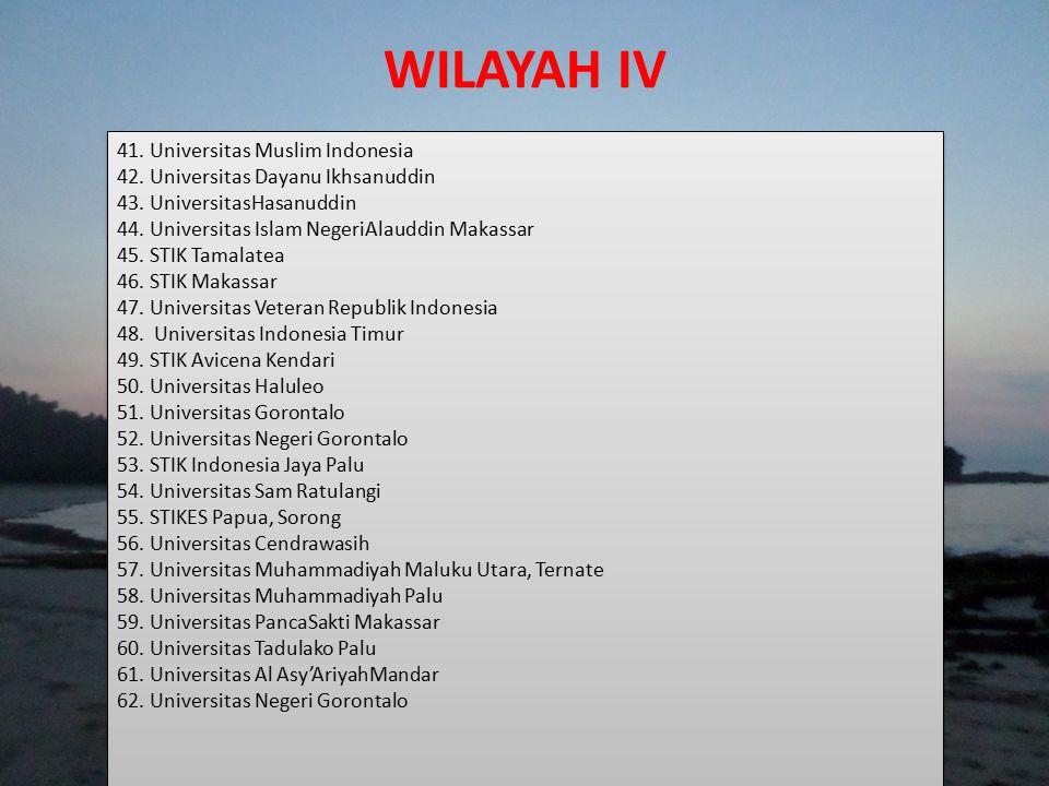 WILAYAH IV 41. Universitas Muslim Indonesia