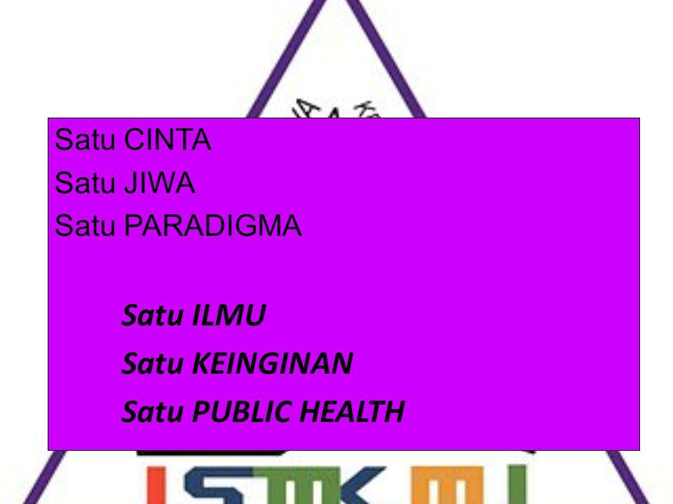 Satu ILMU Satu KEINGINAN Satu PUBLIC HEALTH Satu CINTA Satu JIWA