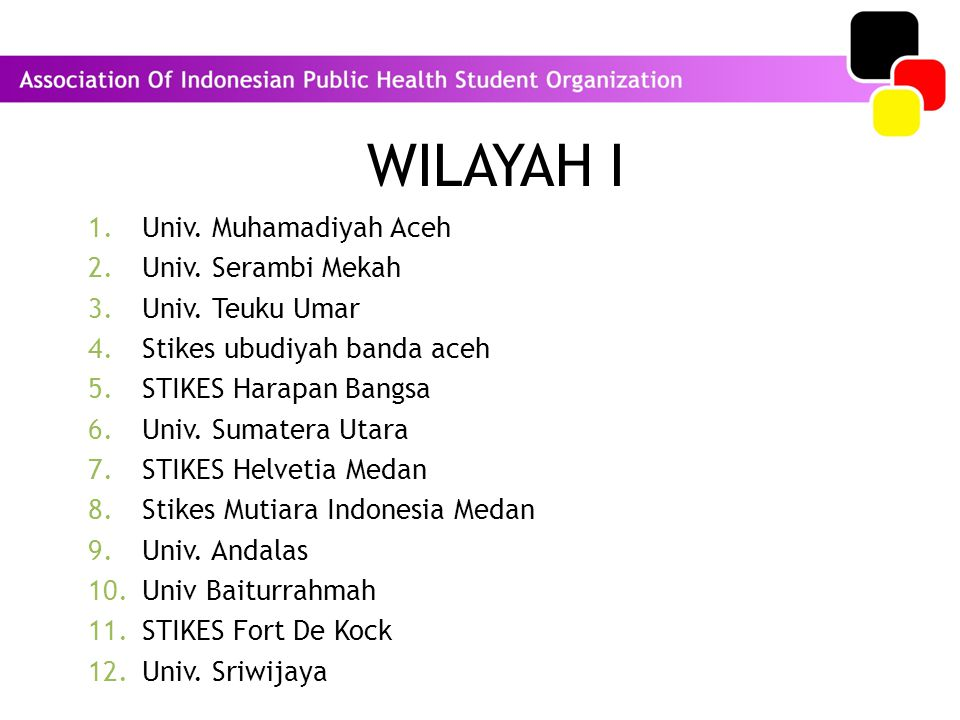 WILAYAH I Univ. Muhamadiyah Aceh Univ. Serambi Mekah Univ. Teuku Umar