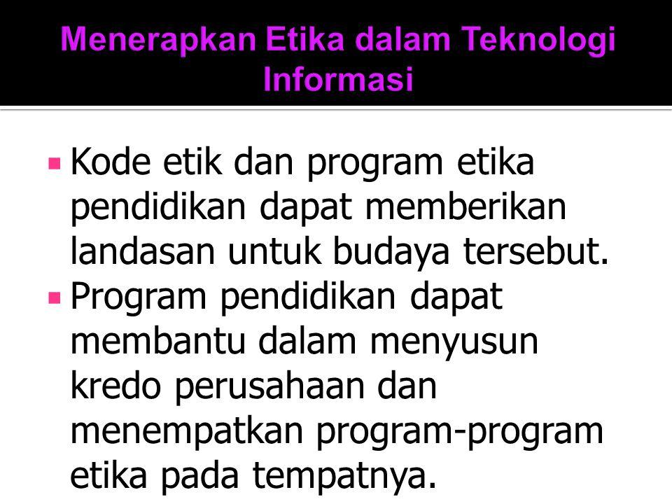 Menerapkan Etika dalam Teknologi Informasi