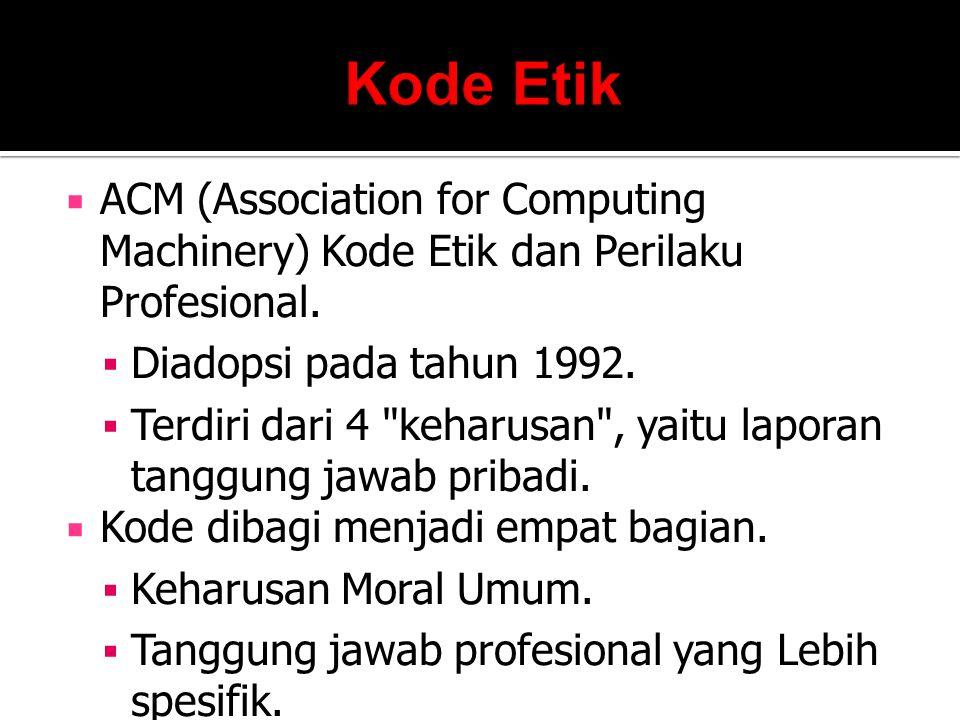 Kode Etik ACM (Association for Computing Machinery) Kode Etik dan Perilaku Profesional. Diadopsi pada tahun 1992.
