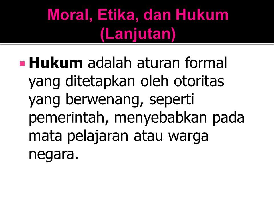 Moral, Etika, dan Hukum (Lanjutan)