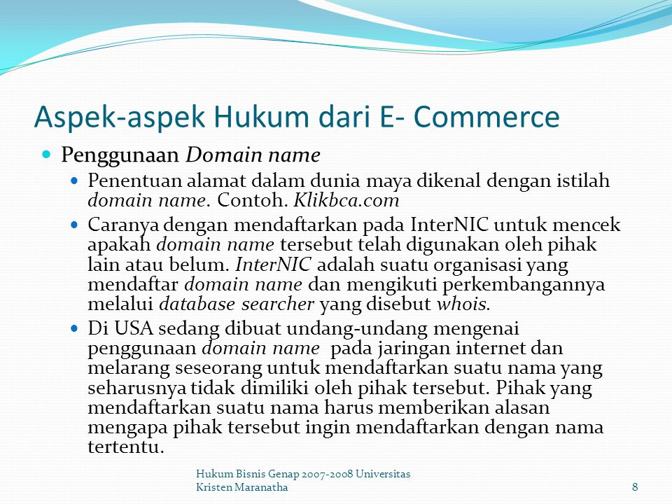 Aspek-aspek Hukum dari E- Commerce