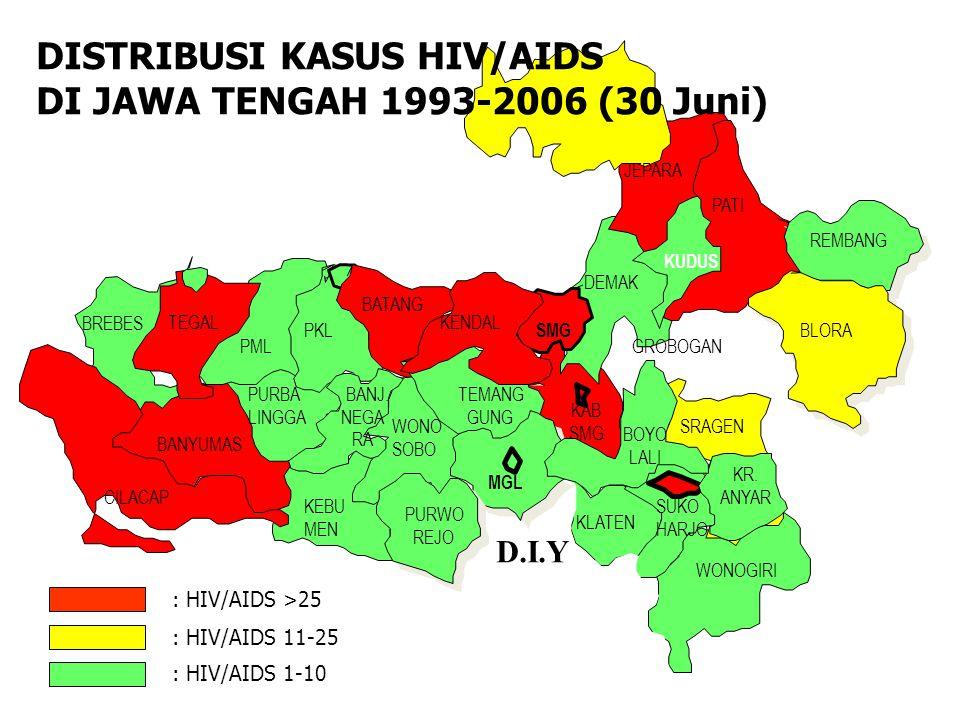 DISTRIBUSI KASUS HIV/AIDS DI JAWA TENGAH 1993-2006 (30 Juni)