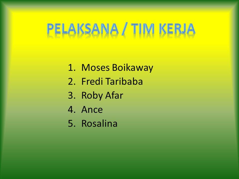 Pelaksana / Tim Kerja Moses Boikaway Fredi Taribaba Roby Afar Ance