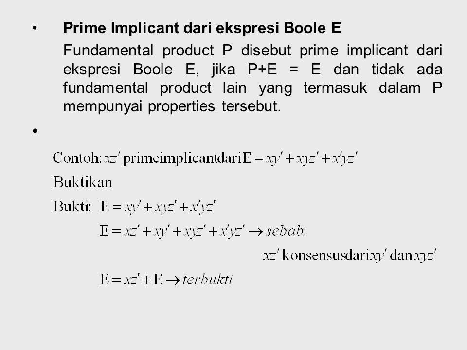 Prime Implicant dari ekspresi Boole E