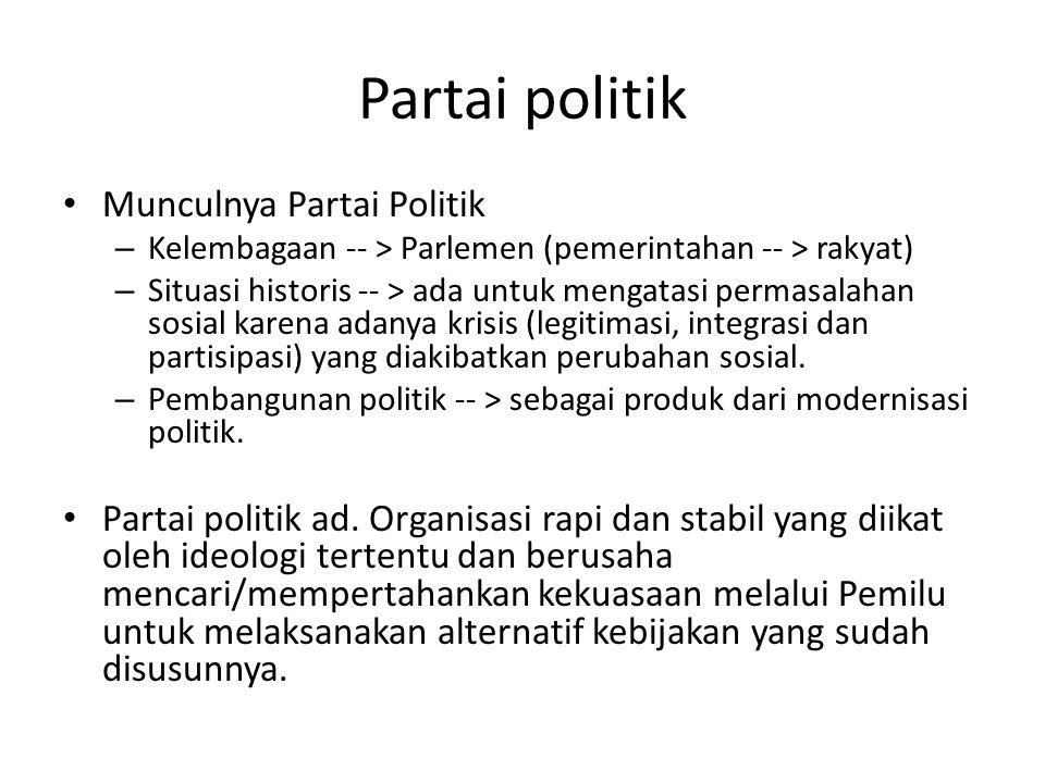 Partai politik Munculnya Partai Politik