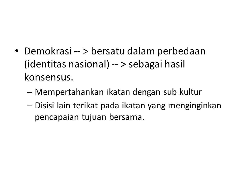 Demokrasi -- > bersatu dalam perbedaan (identitas nasional) -- > sebagai hasil konsensus.