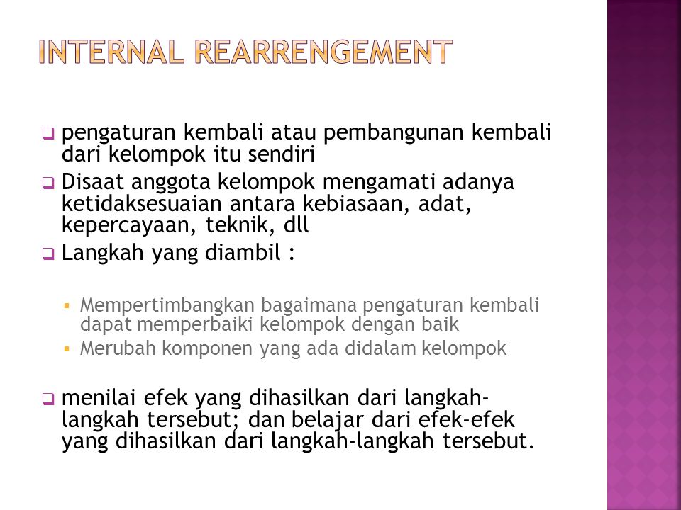 Internal rearrengement