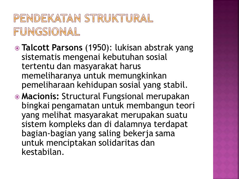 Pendekatan Struktural Fungsional