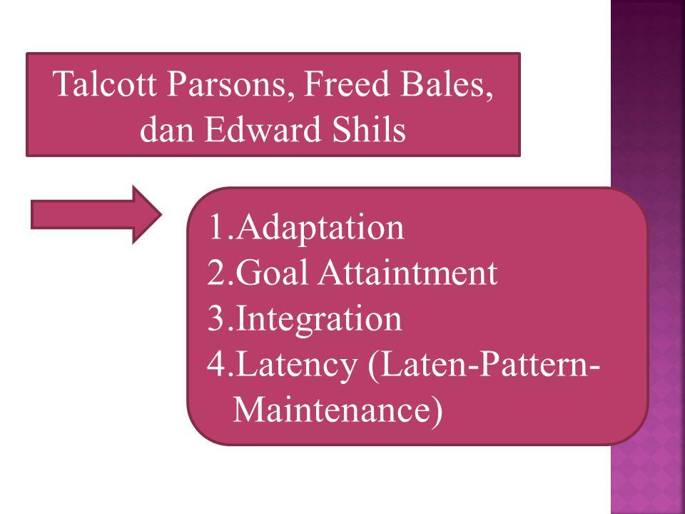 Talcott Parsons, Freed Bales, dan Edward Shils