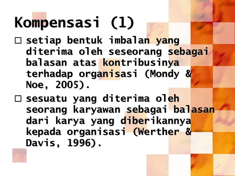 Kompensasi (1) setiap bentuk imbalan yang diterima oleh seseorang sebagai balasan atas kontribusinya terhadap organisasi (Mondy & Noe, 2005).