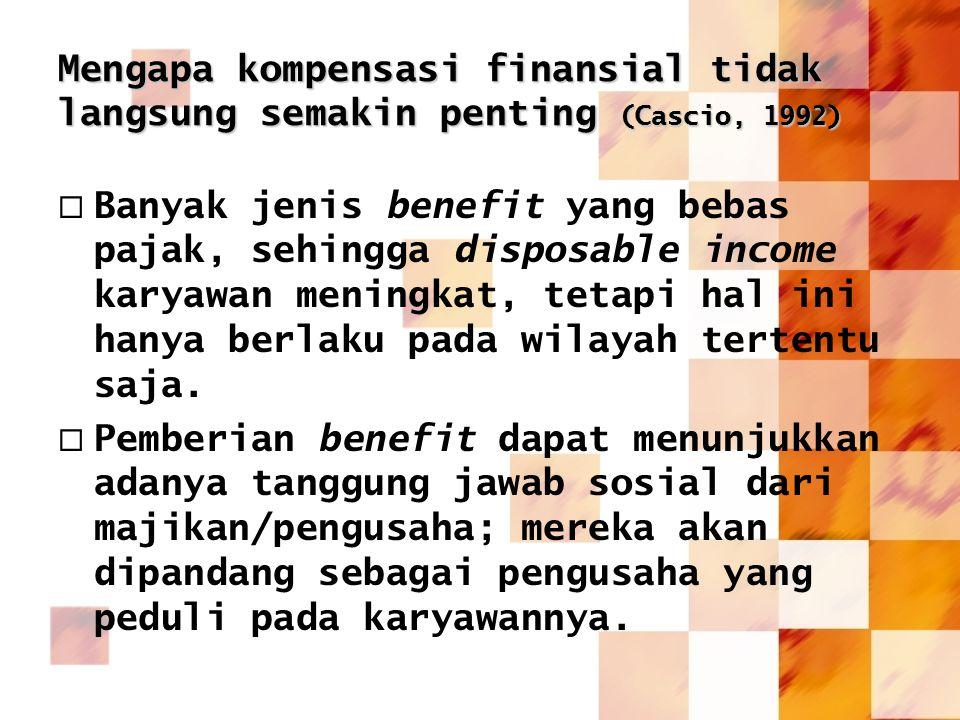 Mengapa kompensasi finansial tidak langsung semakin penting (Cascio, 1992)
