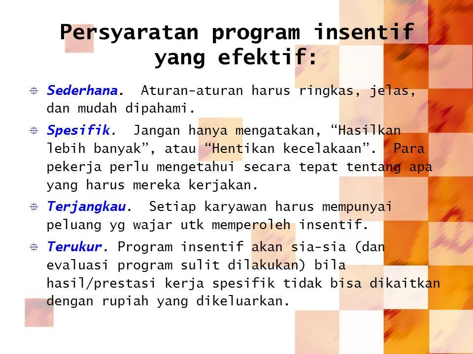 Persyaratan program insentif yang efektif: