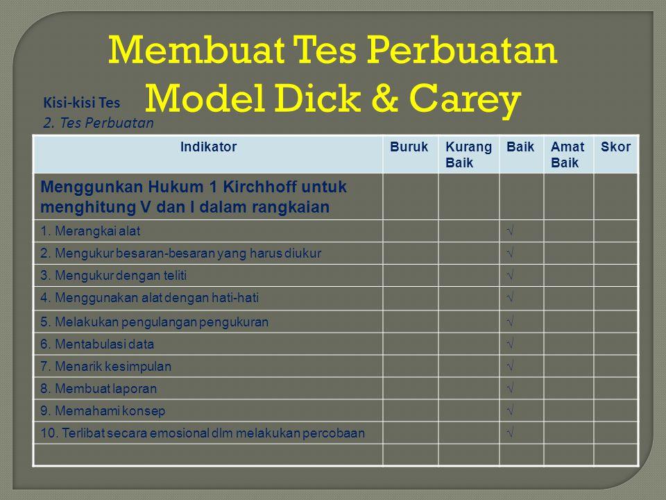 Membuat Tes Perbuatan Model Dick & Carey