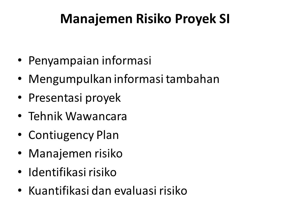 Manajemen Risiko Proyek SI