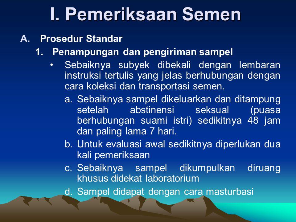 I. Pemeriksaan Semen Prosedur Standar