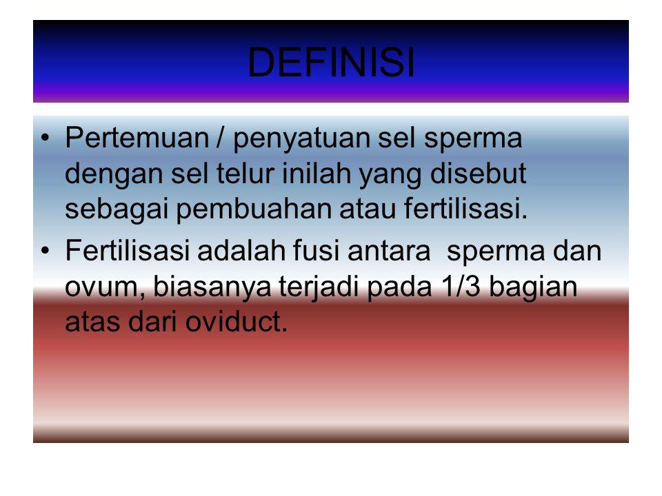 DEFINISI Pertemuan / penyatuan sel sperma dengan sel telur inilah yang disebut sebagai pembuahan atau fertilisasi.