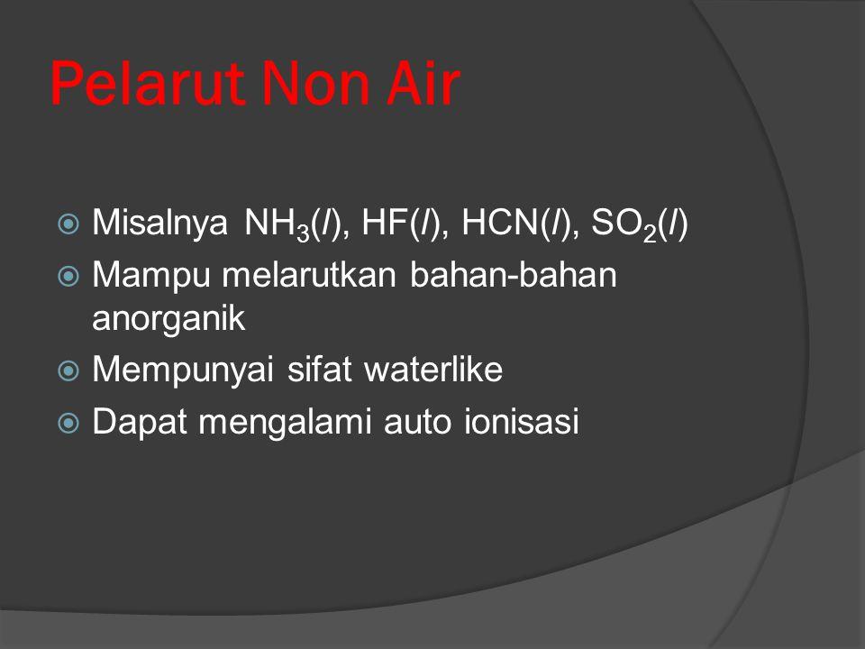 Pelarut Non Air Misalnya NH3(l), HF(l), HCN(l), SO2(l)