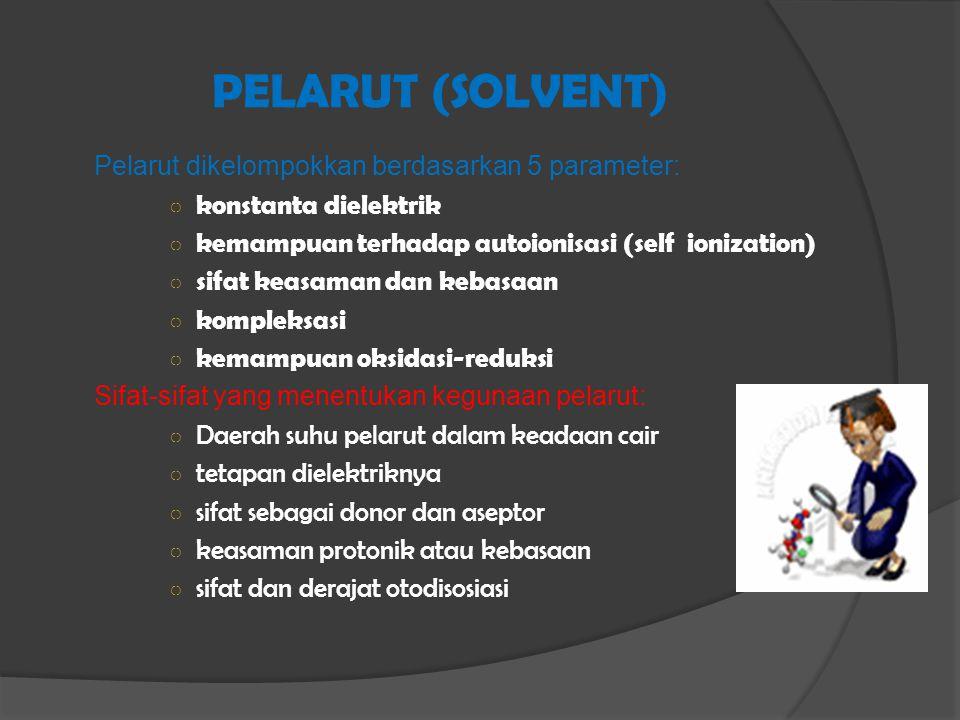 PELARUT (SOLVENT) Pelarut dikelompokkan berdasarkan 5 parameter: