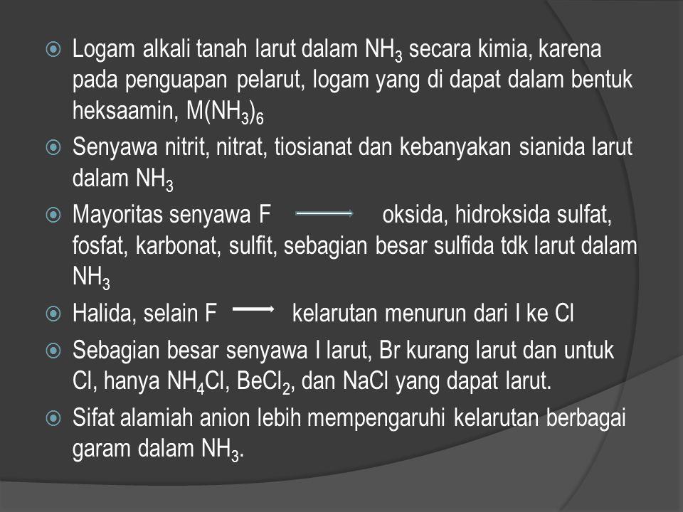 Logam alkali tanah larut dalam NH3 secara kimia, karena pada penguapan pelarut, logam yang di dapat dalam bentuk heksaamin, M(NH3)6