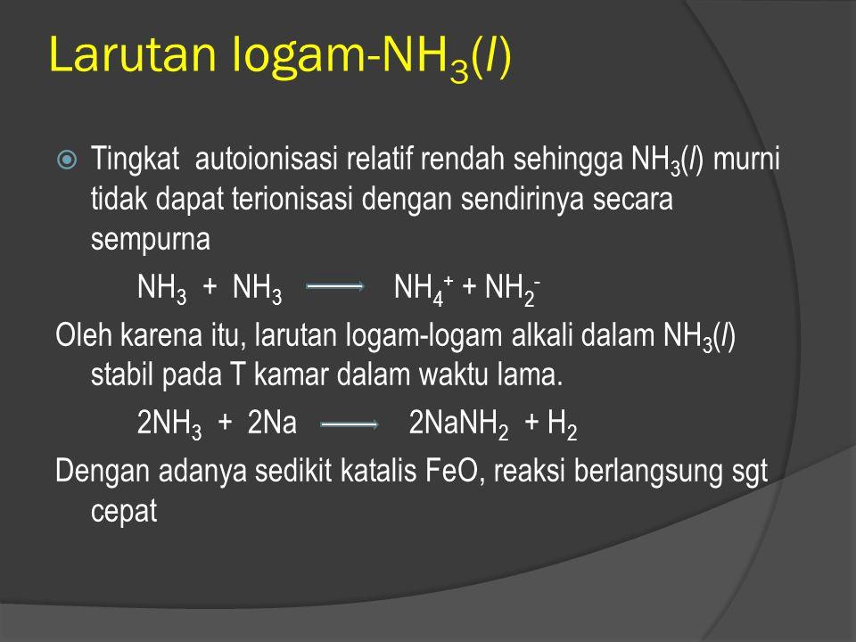 Larutan logam-NH3(l) Tingkat autoionisasi relatif rendah sehingga NH3(l) murni tidak dapat terionisasi dengan sendirinya secara sempurna.